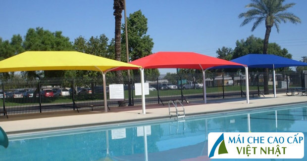 mái che hồ bơi, mái bạt căng, mái căng, bạt dây căng, Znet, Ferarri, Sunbrella, Docril, Sunless