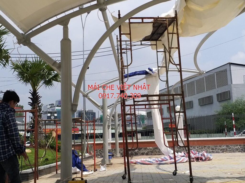 Việt Nhật thi công lắp đặt bạt căng cho nhà xe công ty Hoàng Hải